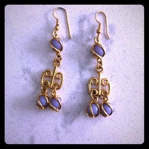 Gold and lavender statement earrings